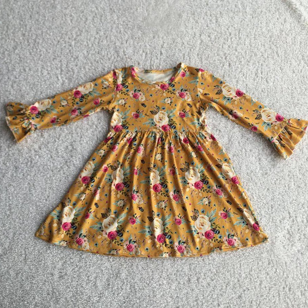 Fall Floral Long Sleeve Milk Silk Dress - Preorder Only