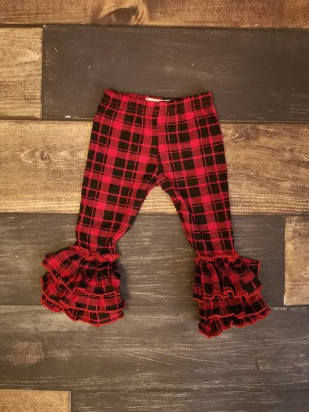 Buffalo Plaid Triple Ruffle Leggings