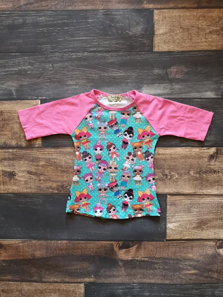 Dolls Print 3/4 Raglan Shirt with Hot Pink Sleeve