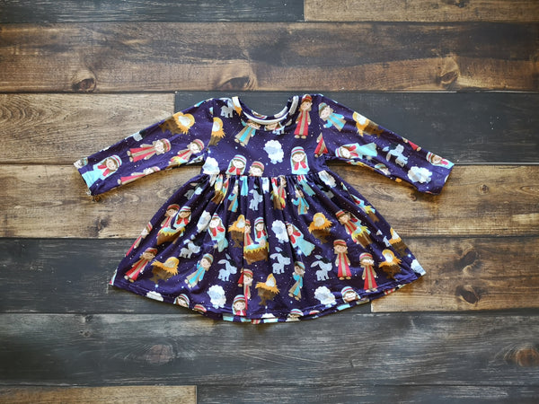 Dark Purple Nativity Long Sleeve Dress - preorder only