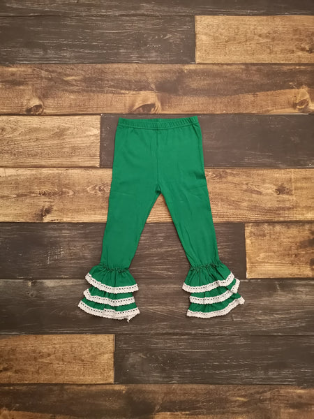 Green Lace Triple Ruffle Leggings