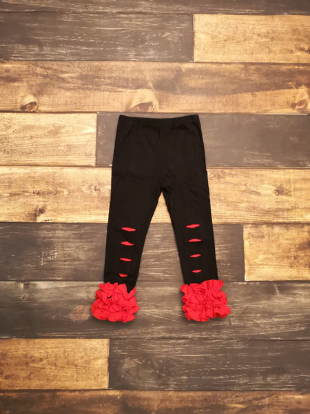 Black with Red Ruffle Distressed Icing Leggings