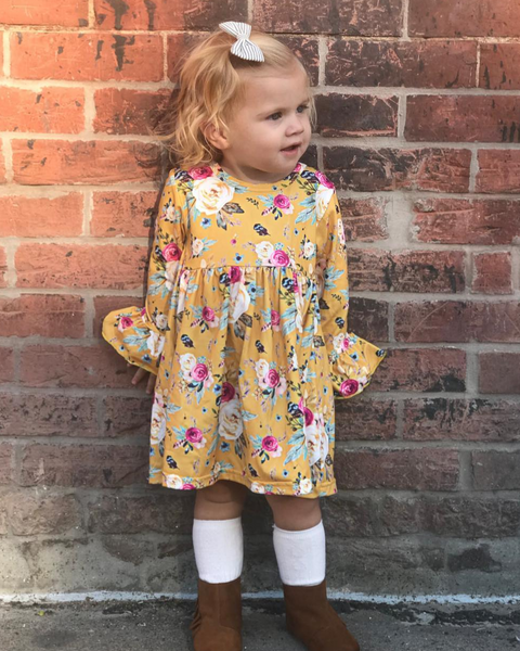 Fall Floral Yellow Long Sleeve Floral Belle Dress