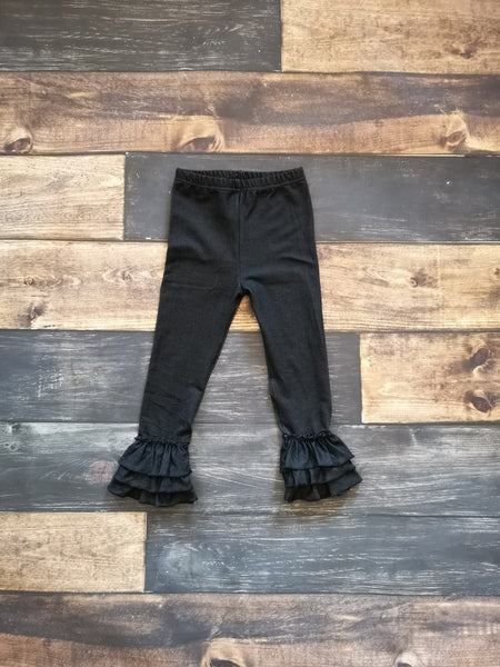 Black Knit Denim Triple Ruffle Legging