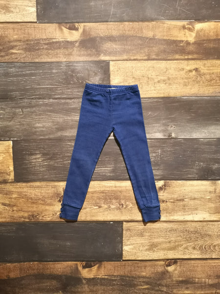 Blue Knit Denim Side Buttons Legging