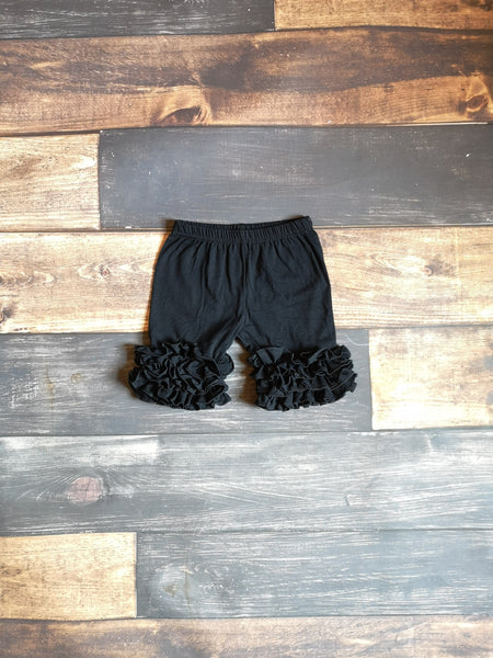 Black Triple Icing Ruffle Shorts