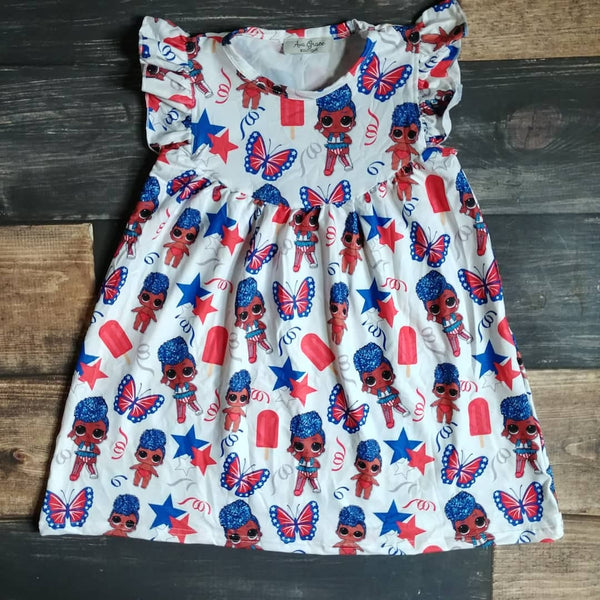 Dolls Prints Milk Silk Pearl Dress - Patriotic