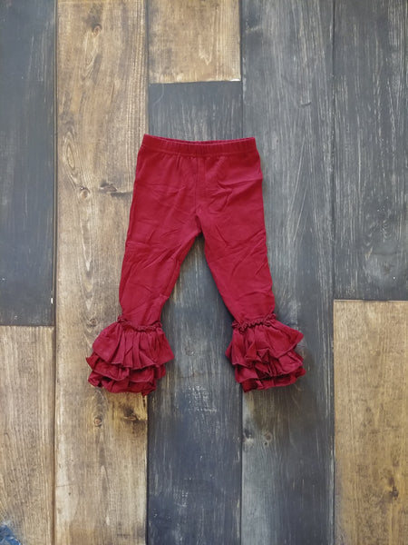 Cranberry Truffle Triple Ruffle Leggings