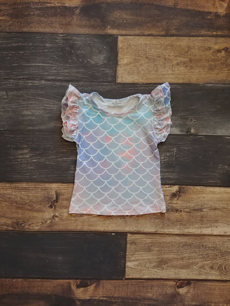 Mermaid Scales Milk Silk Ruffle Tank
