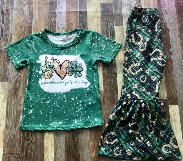 Peace Love St. Patrick's Day Top and Belle Bottom Set