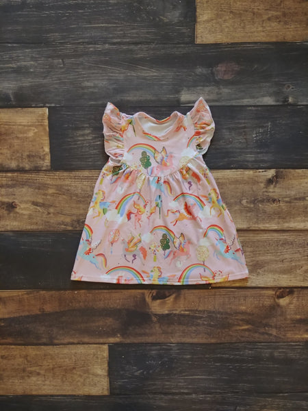 Pink Unicorn Rainbow Pearl Milk Silk Dress