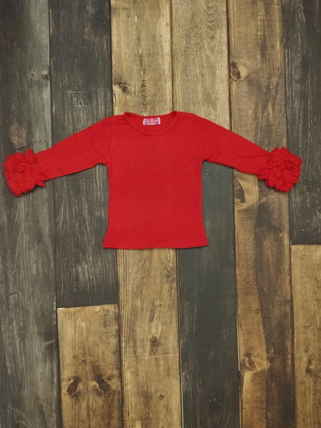 Red Ruffle Long Sleeve Shirt