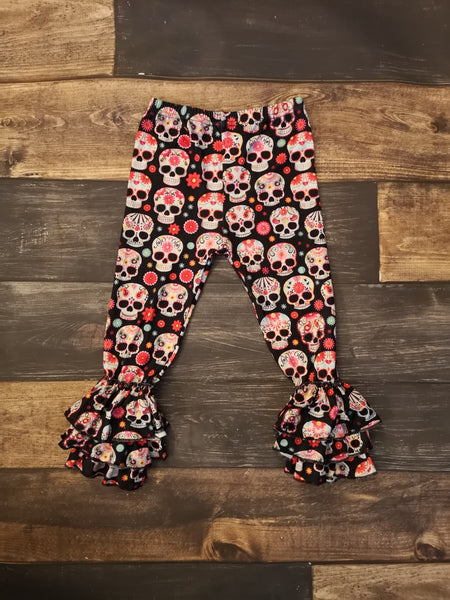 Sugar Skull Paisley Triple Ruffle Leggings