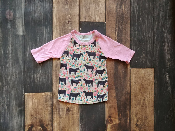 Steer Cows Floral Pink Flowers Raglan Tee with Pink Sleeve