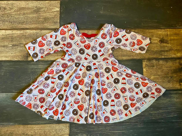 Valentine Donuts Coffee Twirly 3/4 Sleeve Dress with 3 bows on back
