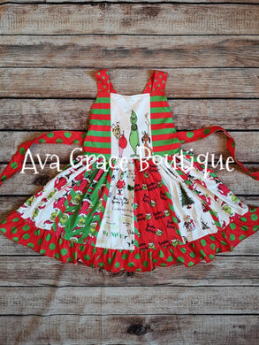 Christmas Grinch Inspired Twirly Dress