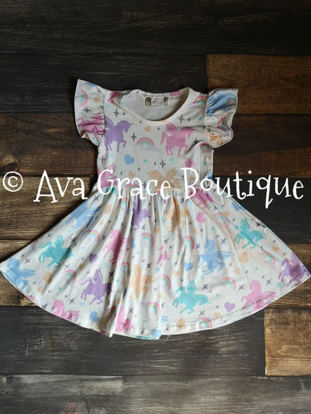 Rainbow Unicorn Milk Silk Dress Twirly Style