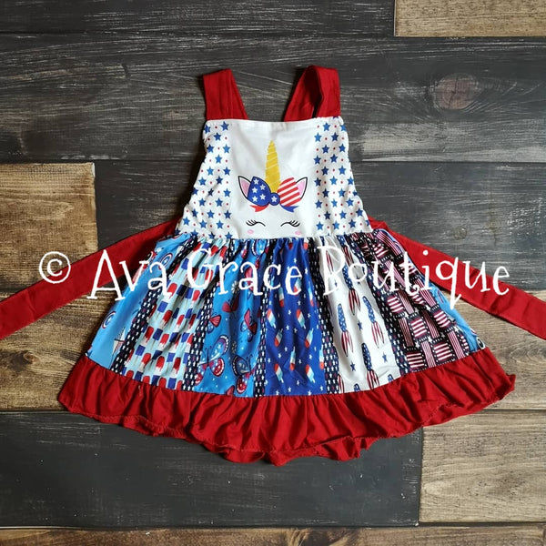 Unicorn 4th of July Twirly Dress