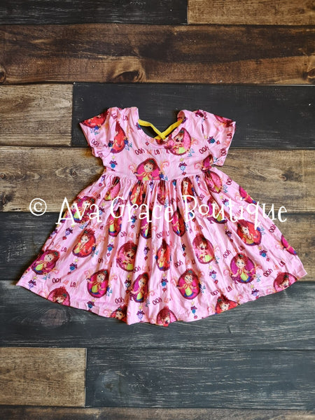 Fancy Nancy Inspired Milk Silk Dress with Criss Cross on Back