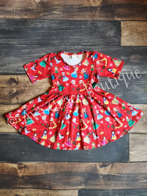 Winter Princess Milk Silk Dress Twirly Style