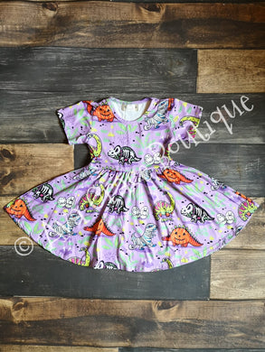 Halloween Dinosaur Milk Silk Dress Twirly Style