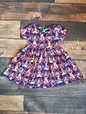Purple Princesses Inspired Milk Silk Dress with Criss Cross on Back