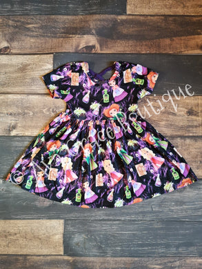 Black Hocus Pocus Inspired Milk Silk Dress with Criss Cross on Back