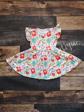 Apple School Supplies Milk Silk Dress Twirly Style