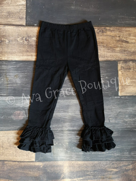 Black Truffle Triple Ruffle Leggings