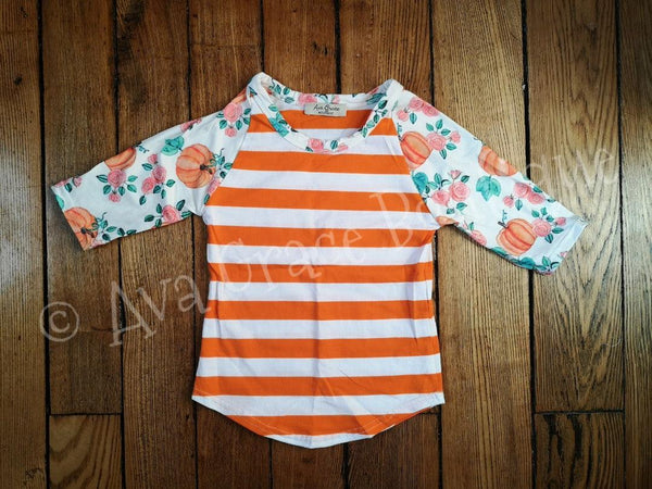 Pumpkin 3/4 Raglan Top
