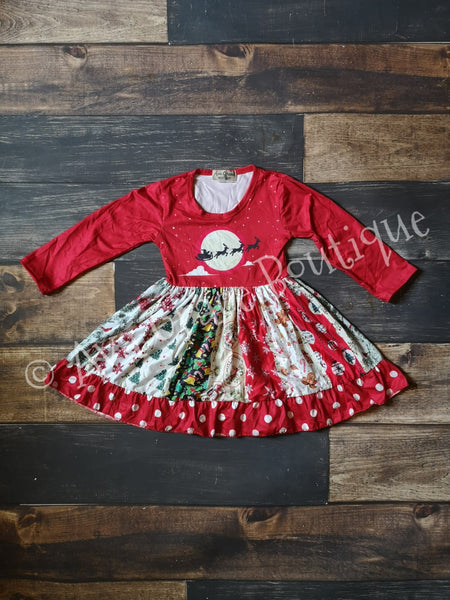Christmas Panel Long Sleeve Ruffle Dress