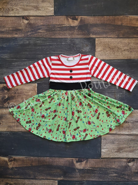 Christmas Grinch Stripes Inspired Dress Twirly Style