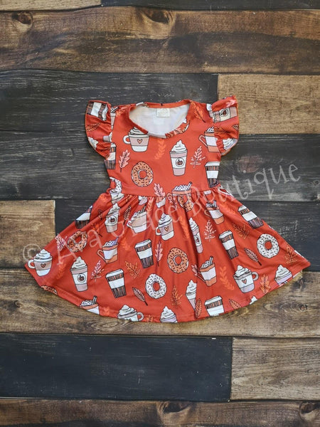 Pumpkin Spice Coffee Milk Silk Dress Twirly Style