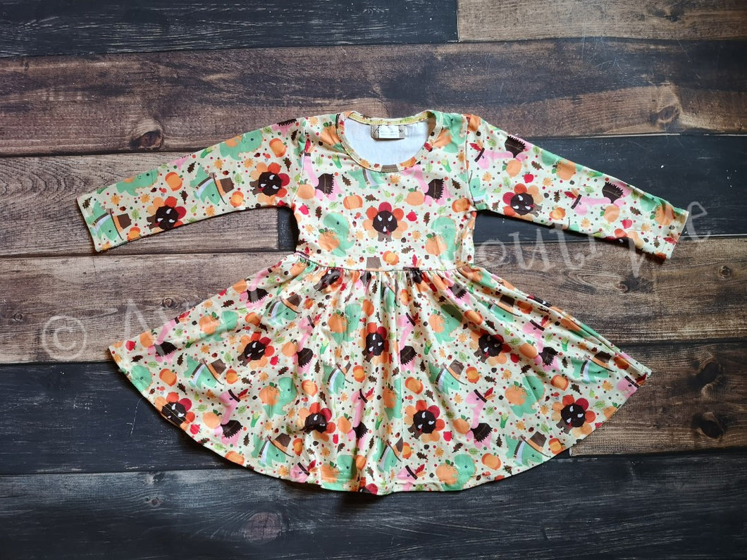 Dinosaurs Thanksgiving Milk Silk Long Sleeve Dress Twirly Style