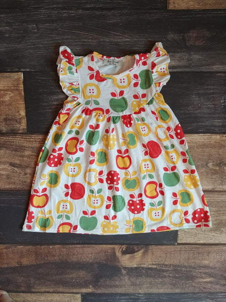 Red Green Yellow Apples Pearl Milk Silk Dress