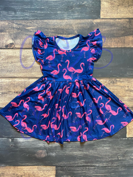 Navy Flamingo Print Milk Silk Dress Twirly Style