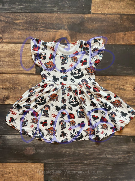 Mickey Pirates Print Milk Silk Dress Twirly Style