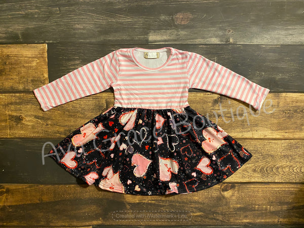 Pink Stripes Hearts Valentine Twirly Dress