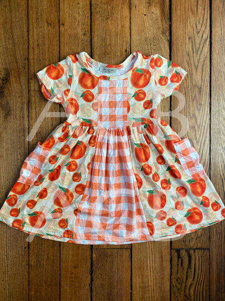 Peach Dress with Side Pockets - Preorder 4-6 weeks