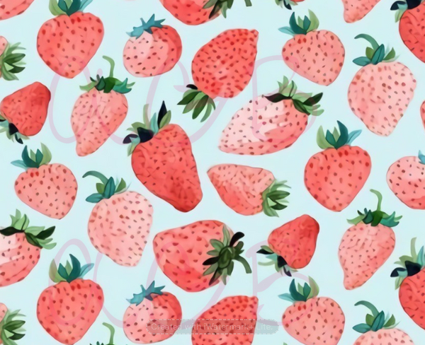 Mint Blue Strawberries Print Collection - Preorder
