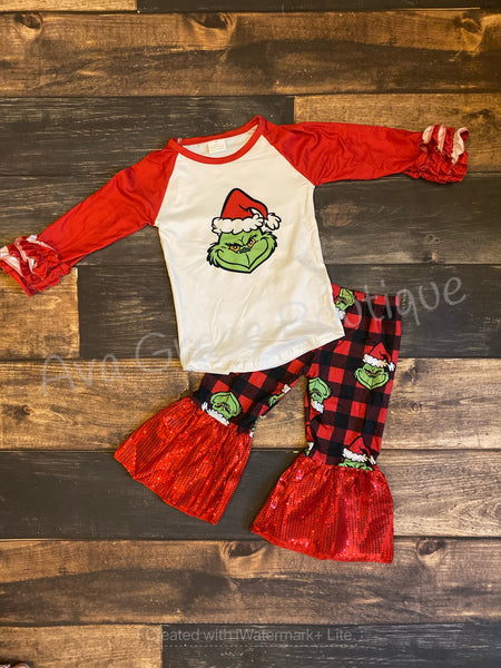 Grinch Top and Belle Bottom Set A