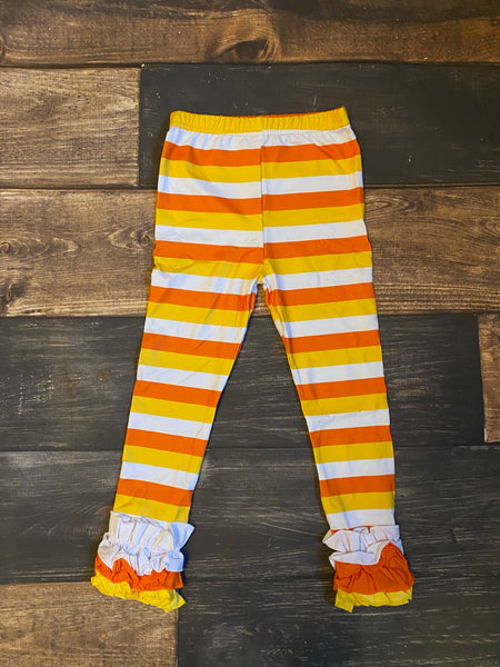 Candy Corn Icing Ruffle Leggings