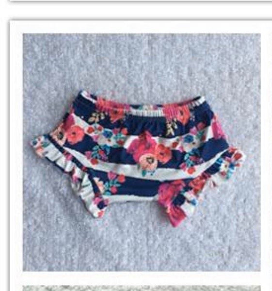 Pink Floral Stripes  Bloomer Shorts - Preorder Only
