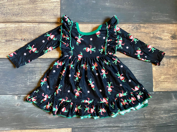 Elf Prints Ruffle Dress with Tie Back