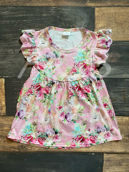 Unicorn Pink Floral Pearl Dress