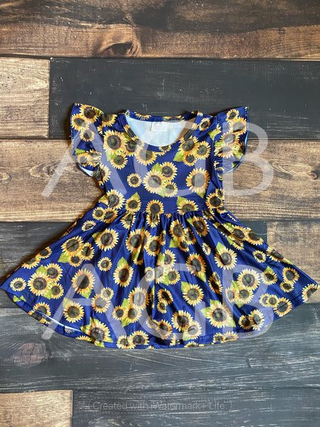 Navy Sunflower Milk Silk Dress Twirly Style