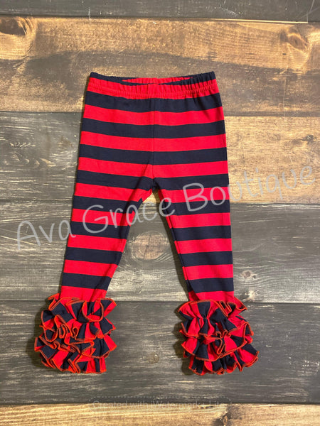 Red and Navy Stripes Icing Legging