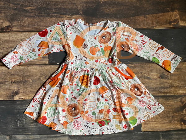 Thanksgiving Long Sleeve Pockets Twirly Dress