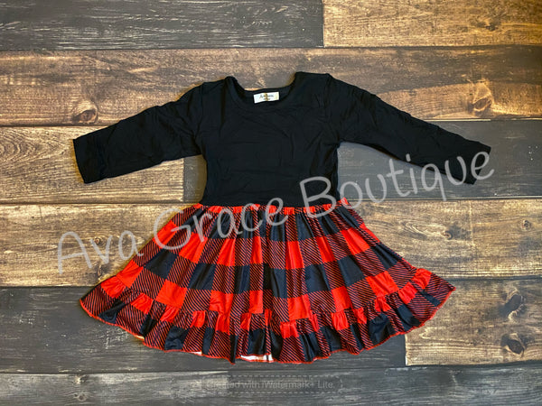 Buffalo Plaid Ruffle Dress