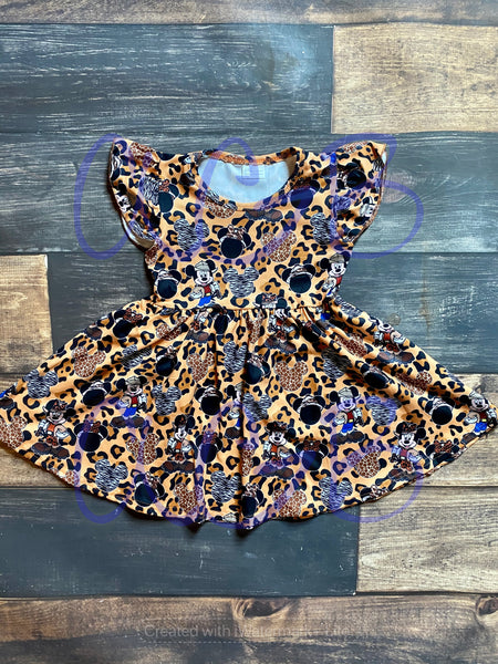 Mickey Safari Print Milk Silk Dress Twirly Style
